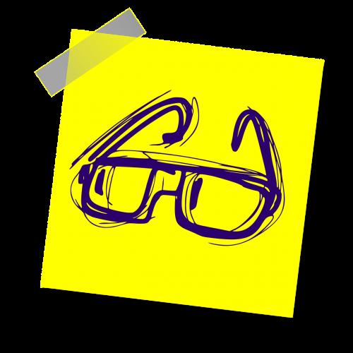 skaitymo akiniai,akiniai,skaitymas,knyga,švietimas,akiniai,studijuoti,protingas,ženklas,pastaba,geltona lipdukė,rašyti pastabą,biuras