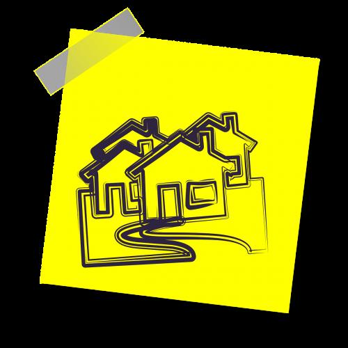 Nekilnojamasis turtas,namai,namas,hipoteka,Nekilnojamojo turto agentas,Nekilnojamojo turto agentas,agentas,nuosavybė,nekilnojamojo turto ženklas,gyvenamasis,paskola,parduota,ženklas,finansai,piktograma,geltona lipdukė,pastaba,rašyti pastabą