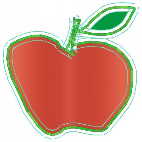 obuolys, žalias, lapai, raudona, piešimas, simbolis, menas, deko, sultys, balta, fonas, raudonas obuolys