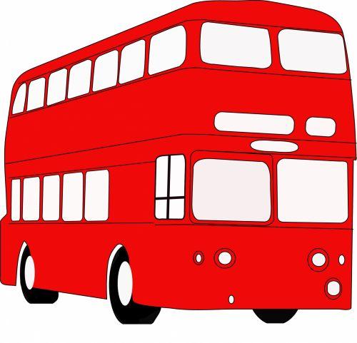 autobusas, transportas, Iliustracijos, raudona & nbsp, autobusas, raudonasis autobusas