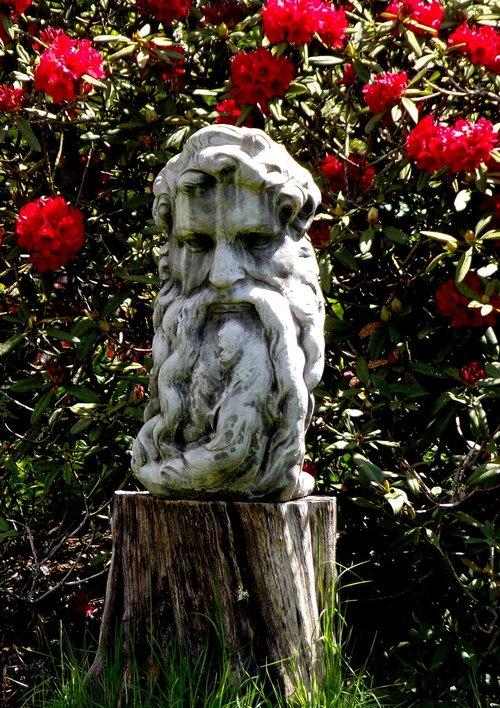 raudonos gėlės, romantiškas sodas, botanika, statula Dioniso, bagažinė, žolė, Sodas, pobūdį, gėlių sodas, augalų, raudona, žiedlapiai, Gamta sodas, botanikos sodas