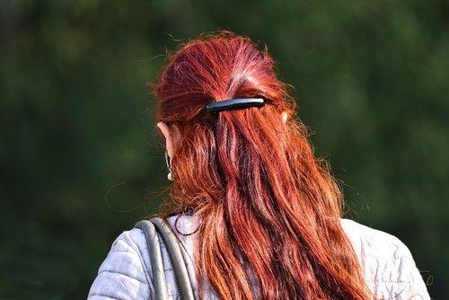 raudoni plaukai, Plaukų, ilgi plaukai, moteris, Moters plaukai, blizgantis, užsegimas, gražūs plaukai