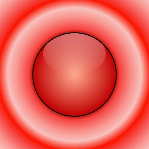 piešimas, 3d, raudona, blizgantis, blizgus, rutulys, sfera, koncentrinis, balta, juoda, žiedai, tikslas, taikinys, menas, abstraktus, raudonas blizgus kamuolys