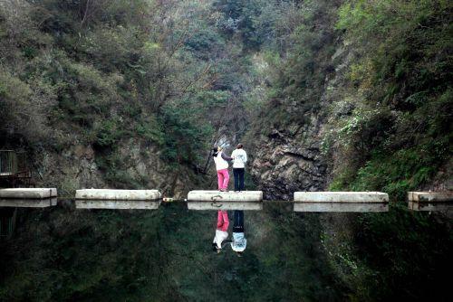 kraštovaizdis, atspindys, apmąstymai, vanduo, kalnai, užtvankos, žmonės, gamta, apmąstymai