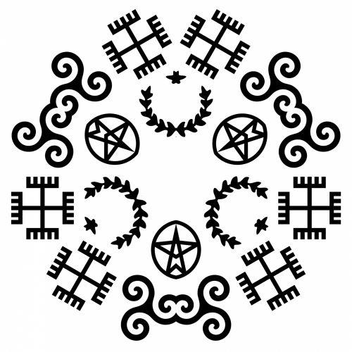 religinis, simboliai, Kaleidoskopas, juoda, balta, fonas, simetriškas, piešimas, ratas, figūra, veidrodis, religiniai simboliai