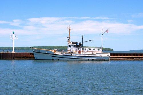 Mokslinių tyrimų laivas shenehon, tyrimai, laivas, shenehon, laivas, valtis, kariuomenė, vilkikas, transportas, Jūrų, Mokslas, jūra, ežeras, Lake Superior, Bayfield, Wisconsin, uostas, uostas, Pier, R prieš, didieji ežerai, aplinkos tyrimai, aplinkos