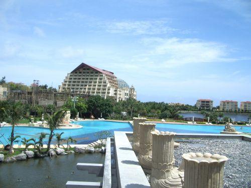kurortas, atostogos, šventė, papludimys, saulė, karštas, sala, sanya, Hainanas, Kinija, viešbutis, atogrąžų, kurortas