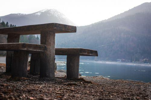 poilsis,bankas,šventė,Walchensee,atsigavimas,mėlynas,ramybė,kraštovaizdis,medinis stendas,miškas,kalnai,gamta