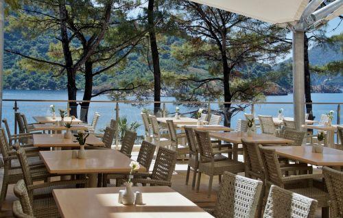 restoranas, kėdė, stalai, sodo restoranas, lauke, jūra, terasa