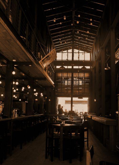 tavern, interjeras, šviesa, tamsi, sepija, restoranas sepija