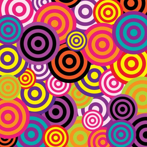apskritimai, retro, vintage, 60s, 70s, spalvinga, šviesus, menas, tapetai, fonas, iliustracija, pavyzdys, dizainas, Scrapbooking, retro apskritimai 60s spalvingi