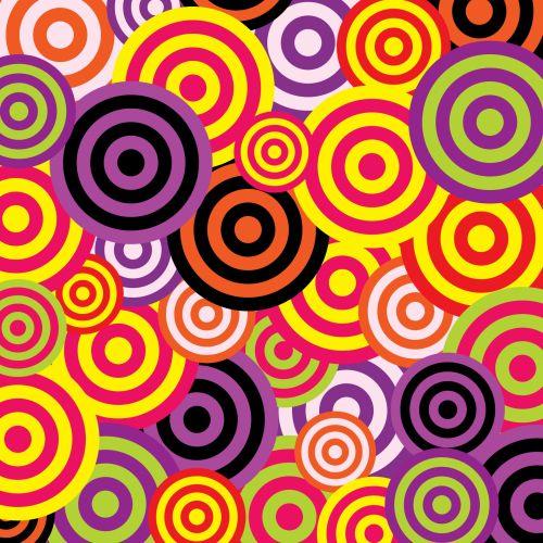 apskritimai, retro, vintage, 60s, 70s, spalvinga, tapetai, fonas, menas, iliustracija, pavyzdys, dizainas, modelis, Scrapbooking, Laisvas, viešasis & nbsp, domenas, retro apskritimai 60s tapetai