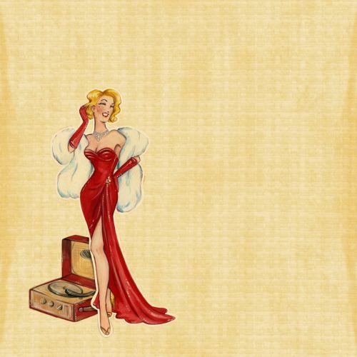 retro, Lady, moteris, Moteris, 40s, 50s, spalvingi, raudona, suknelė, įrašyti, žaidėjas, vintage, senas, fonas, įrašyti & nbsp, grotuvą, Scrapbooking, Laisvas, viešasis & nbsp, domenas, retro lady raudona suknelė