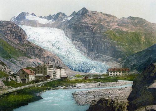 Ronos ledynas,ledynas,19 a .,klimato kaita,pasaulinis atšilimas,liežuvis,ledas,ledynas liežuvis,turistų atrakcijos,supuvę ledynai,slėnio ledynas,upė,vandenys,rhône,valais,centrinis alpės,Šveicarija,ledynas ištirpsta,ištirpinti,atšilimas,aplinka,aplinkos apsauga,gletsch,bendruomenė,vieta,oberwald,goms,Valės kantonas,jūs glacière hotel rhône,viešbutis,atsiskaitymas,dammastock,galenstock,Grimsel pass,belvedere,furka,furka pass,fotografija,vintage,vaizdas,senas,dažymas
