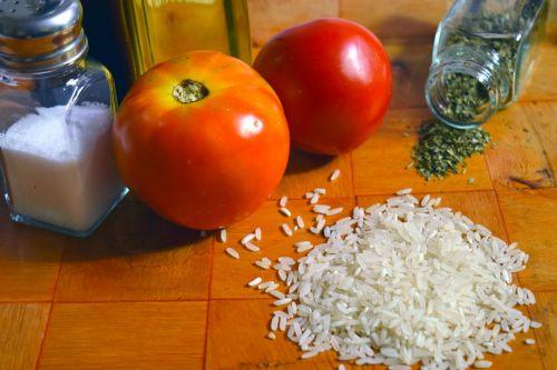 ryžiai,pomidoras,Ispaniškas maistas,ingridientai