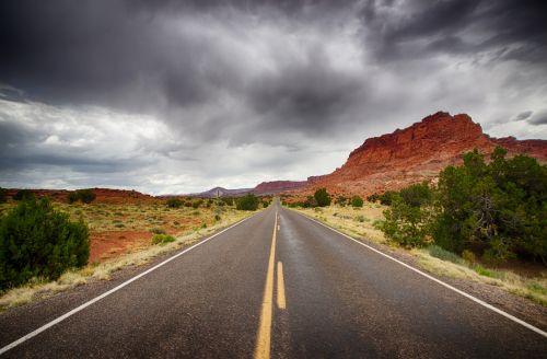 capitol & nbsp, rifas, uolos, nacionalinis & nbsp, parkas, kelias, kelio, akmenys, audra, gatvė, griauna, Utah, dykuma, kelias per pietų Utah