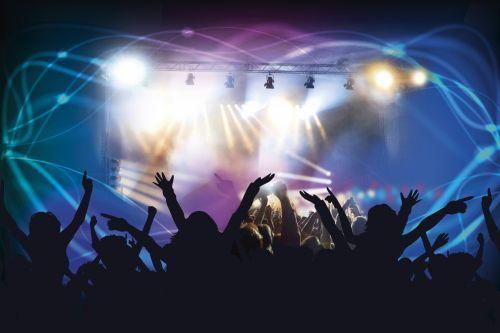 roko & nbsp, koncertas, spektaklis, minios, koncertas, etapas, pramogos, muzika, rankos, siluetai, muzikinis, šokiai, roko koncertas