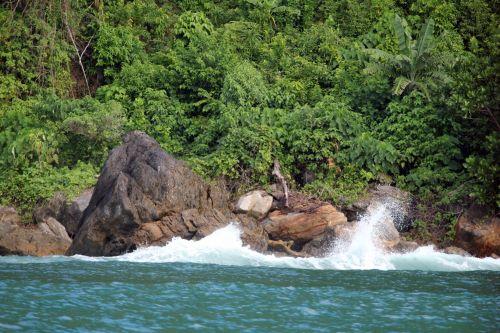 akmuo, akmenys, vanduo, papludimys, vėjas, purslų, vandenynas, roko & nbsp, akmuo, urvas, akmens akmuo jūroje 2