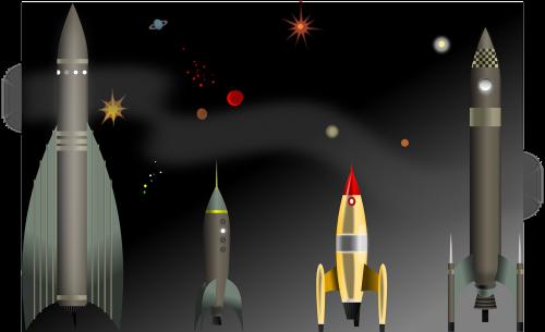 Raketa, Erdvė, Kosminis, Raketa, Nemokama Vektorinė Grafika