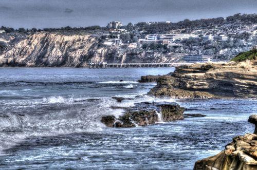 vandenynas, jūra, vanduo, bangos, Rokas, akmenys, gamta, uolos, miestas, Miestas, pajūryje, uolos ir vandenynas bei miestas