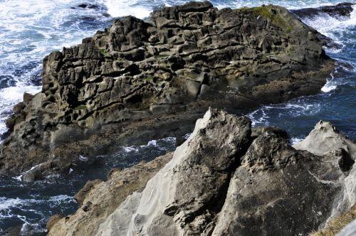 vandenynas, jūra, bangos, Rokas, nusmukęs, susmulkintas & nbsp, smelis, geologija, oregonas, uolos ir nusmukęs smėlis