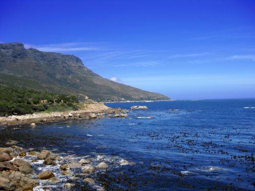 akmenys, uolingas, uolos ir nbsp, pakrantė, kailis, pakrantė, viršūnė & nbsp, taškas, įlanka, jūra, mėlynas, bangos, vasara, ramus, viršūnė & nbsp, miestas, Pietų Afrika, uolos pakrantės pakrantė