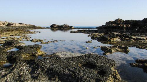 uolos pakrantė,lagūnas,mėlynas,jūra,gamta,Krantas,pakrantė,peizažas,ramus,ayia napa,Kipras