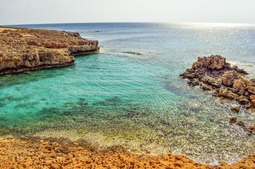 uolos pakrantė,jūra,aišku,skaidrus,gamta,pakrantė,horizontas,peizažas,ayia napa,Kipras,turkis,ramus