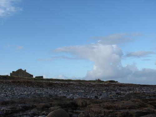 Airija, pakrantė, uolingas, papludimys, griuvėsiai, debesys, oras, uolos pakrantė