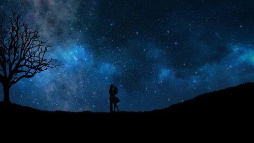 romantika,meilė,pora,širdis,dizainas,vintage,tekstūra,tapetai,hd tapetai,naktis,žvaigždės,mėlynas dangus,naktis meilė,medis,romantiški tapetai,silueto menas,kraštovaizdžio menas,siluetas,vyras,moterys,mergaitė,berniukas,skaitmeninis menas,skaitmeninė tapyba,skaitmeninis turinys,menas,grafika,animacinis,anime,silueto tapetai,vizualinis menas,vizualinis