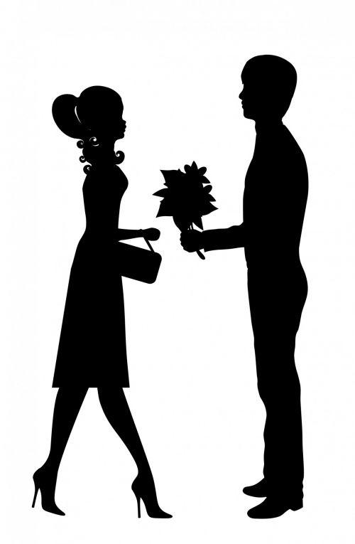 romantiškas, pora, mergina, vaikinas, mylimai, mėgėjai, meilė, data, pažintys, pirmas & nbsp, data, juoda, siluetas, vyras, moteris, mergaitė, berniukas, Patinas, Moteris, Lady, Iliustracijos, Scrapbooking, iliustracija, gėlės, jaunas, romantiška nauja pora paveiksliukas