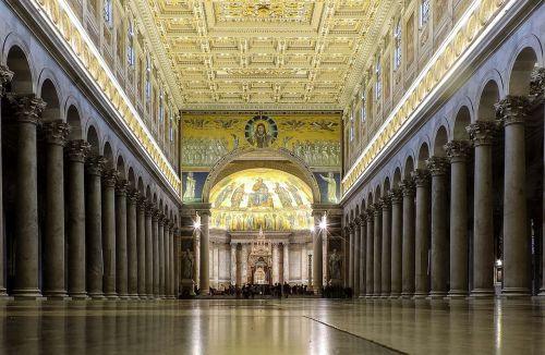 Roma,lazio,italy,bazilika,St Paulo bazilika už sienų,St Pauliaus bazilika,architektūra,bažnyčia,stulpeliai,kolonada,apse,apmąstymai,religija,tikėjimas,istorija,pastatas,religinis pastatas,bažnyčios viduje,bazilikos viduje,niekas,stulpelis,lubos,kelionė,viduje,remti pagalbinę struktūrą