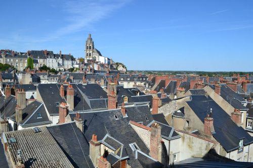 stogas, stogai, stogas, šiferio stogas, blois, bažnyčia, židinys, židiniai, france, Liūro slėnis
