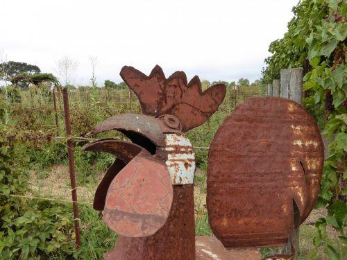 Gaidys, skulptūra, geležis, geležis & nbsp, skulptūra, ūkis, ūkio & nbsp, kiemas, apdaila, gaidžių geležies skulptūra