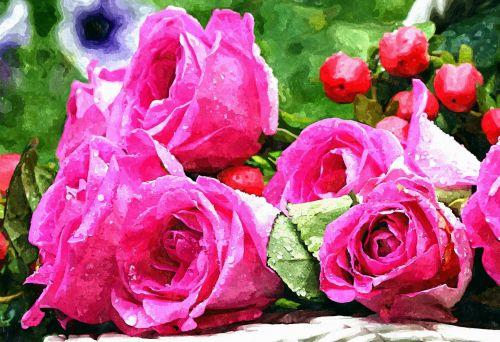 rožės, rožė, rožinis, akvarelė, akvarelė, dažymas, vanduo, vanduo & nbsp, lašai, rasa, rasos & nbsp, lašai, Uždaryti, uždaryti & nbsp, menas, gamta, gėlės, gėlė, žydėti, žydi, žiedlapis, detalės, Scrapbooking, Laisvas, viešasis & nbsp, domenas, rožės akvarelė tapyba
