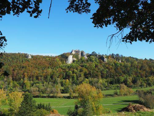 sugadinti hohengerhausen, rusenschloss, sugadinti, aukštis burg, gerhausen, blaubeuren, swabian alb, gamta, miškas, Kelionės tikslas, pilis, baden württemberg, Rokas, požiūris, mėlynas slėnis, idiliškas