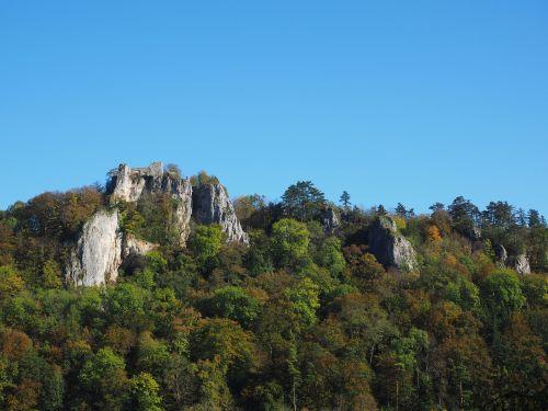 sugadinti hohengerhausen, rusenschloss, sugadinti, aukštis burg, gerhausen, blaubeuren, swabian alb, gamta, miškas, Kelionės tikslas, pilis, baden württemberg, Rokas, požiūris, mėlynas slėnis, idiliškas, didelis urvas, neandertaliečio urvas, neandertaliečiai, akmeninis kraštovaizdis