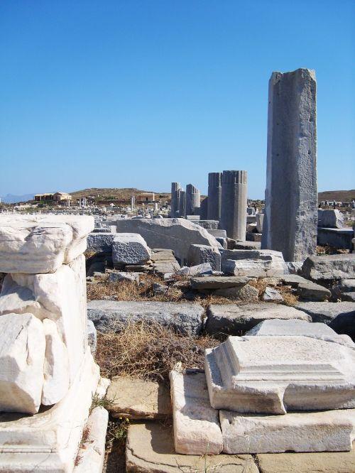 griuvėsiai,Senovinis,senoviniai griuvėsiai,senovinis miestas,delos,Graikija,ciklai,graikų senovė,stulpeliai,graikų stulpeliai,paminklas,akmenys,kelionė