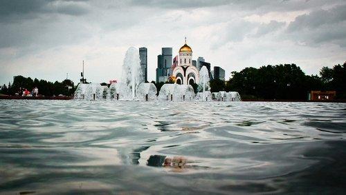Rusija, šaltinis, architektūra, parkas, Turizmas, vandens, vasara, paminklas, Maskva, rūmai, auksas, menas, kelionė, šaltiniai, vaikščioti, Miestas, dangus