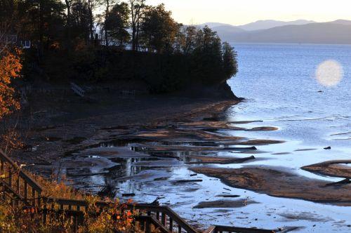 kraštovaizdis, ežeras, vanduo, ežeras, kaimas, kaimiškas, kritimas, ruduo, lapuočių, papludimys, smėlis, kaimiškas ežeras
