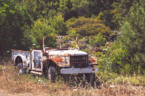 paliktas, amžius, automobilis, automobilis, klasikinis, Jeep, metalas, senas, retro, rusvas, gabenimas, transporto priemonė, vintage, nuolaužos, rusty jeep