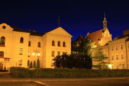 kvadratas, Bydgoszcz, bažnyčia, Lenkija, tapetai, kvadratas naktį
