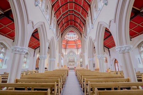 Sacred Heart Church Blackpool, šventa šilumos bažnyčia, Blackpool, religinis, Religija, Šventoji, šventa, melstis, melstis, bažnyčia, nava, pritty, gražus, architektūra, statyba, interjero, viduje, metai, gotika
