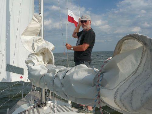 burinė valtis,buriu,lenkų vėliava,vėliava,sienos kirtimas