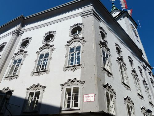 Salzburgo miesto rotušė,miesto rotušė,salzburg,getreidegasse,miesto rotušės bokštas,rokoko fasadas,senas,pastatas,Rotušės aikštė