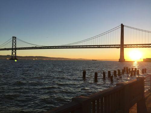 San Franciskas,lyno tiltas,saulėtekis,san francisco saulėtekis,Lauko tiltas saulėtekis