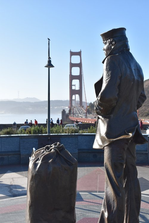 San Franciskas, Auksinių vartų tiltas, JAV, California, statula, imigrantai, Daiktų maišas