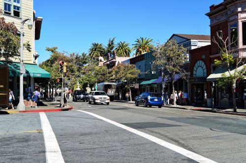San Franciskas,San,fr,francisco,Kalifornija,centro,miesto,parduotuvės,gatvė,automobiliai,pastatai,architektūra,scena
