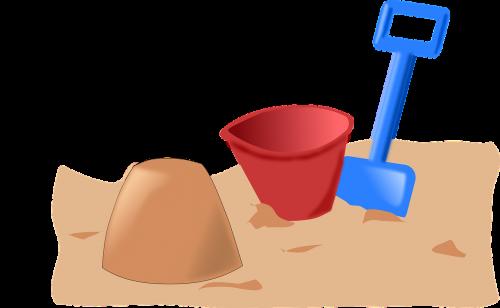 sandbox,žaislai,papludimys,žaisti,kibiras,kastuvas,vaikai,atostogos,nemokama vektorinė grafika