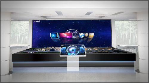 sandbox, didelis ekranas, tv, registratūra, šviesa, biuras, vizualizacija, interjero dizainas